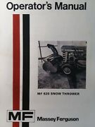 Massey Ferguson Lawn Garden Tractor 620 Snow Thrower Impl Owners Manual Mf 10 12