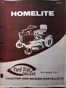 Homelite Yard Trac Deluxe Ytd-7 Riding Lawn Tractor And Mower Parts Manual 7 H.p