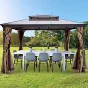 Vevor 10x12ft Hardtop Gazebo Canopy Party Mosquito Net Party Tent For Picnic