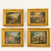 Antique Set Of 4 Oil On Tin Paintings Featuring Countryside Peasant Scenes Frame