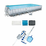 Bestway Frame Swimming Pool And Pool Cleaning Vacuum And Maintenance Accessories Kit