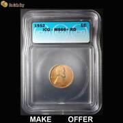 1952 Lincoln Wheat Cent Penny Icg Ms66+ Rd, High Grade, Nice