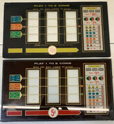 Vintage Lot Of 2 - Ballyand039s Casino Slot Machine Backglass Old 5 And 10 Cent Slots