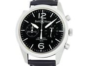 Bell And Ross Vintage Original Black Chronograph Br126-94-ss Ss Menand039s Watche6397