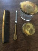 Vintage Ornate 4 Piece Silver Plate Dresser Set. Comb, File, 2 Glass Containers