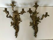 Pair Of Vintage French Rococo Gilt Dore Bronze Candle Wall Sconces, 21 T, 14 W