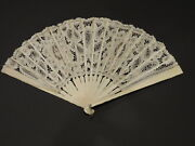 Victorian Off White Brussels Lace Hand Fan W Carved Bone Sticks