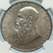 1908 Germany German States Saxe-meiningin Georg Ii Old Silver 5m Coin Ngc I84256