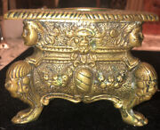 19th Century Italian Heavy Carved Brass/bronze Cameo Faces And Lions Candle Holder