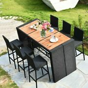 7 Pcs Patio Rattan Wicker High Quality Acacia Wood Table Top Outdoor Dining