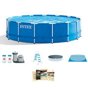 Intex 18' X 4' Frame Above Ground Pool W/ Pump, Ladder, Cover, And Winterizing Kit