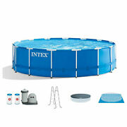 Intex 28253eh 18ft X 48in Metal Frame Above Ground Pool Set With Pump And Cover