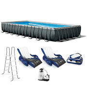 Intex 32and039 X 16and039 X 52 Ultra Xtr Rectangular Pool W/ 2 Floating Chairs And Cooler