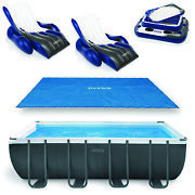 Intex 18ft X 9ft X 53in Ultra Xtr Frame Pool Cover Cooler And Float 2 Pack