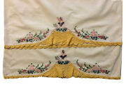 Vintage Southern Belle Embroidered Crochet Handmade Pillowcases X 2 With Dress