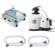 """Intex Pool Sand Filter Pump W/ Automatic Timer And Side Vacuum And 1.5"""" Hose 2 Pack"""
