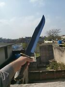 25 Custom Handmade Carbon Steel Long Bowie Knife With Stag Horn Handle