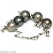 Tahitian Pearl Chain Necklace 14kt White Gold 18 15 -14 Mm
