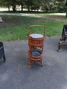 Antique Bamboo Or Rattan Sewing Stand Basket