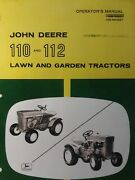 John Deere 110 112 Round Garden Tractor Snow Thrower And Mower Owners 3 Manual S