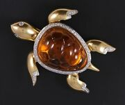 18k 57 Ct. Diamond Citrine Turtle Alfred Philippe Jelly Belly Fur Clip Brooch