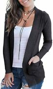 Voianlimo Women's Open Front Casual Long Sleeve Knit Classic Sweaters Cardigan W