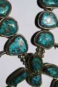 Heavy 365 G. Vintage Morenci Turquoise Squash Blossom Sterling Silver Necklace