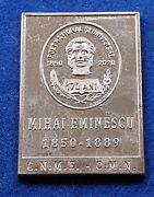 Romania Is Our Great National Poet Mihai Eminescu Superb Gold Plated Medal Rare