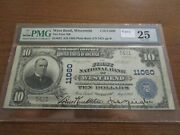 Large Size Wisconsin National Currency 10 Note 1st Nb West Bend Pmg 25