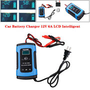Car Battery Charger 12v 6a Lcd Intelligent Auto Motorcycle Pulse Repair Starter