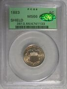 1883/2 Pcgs Ms66 Shield Nickel Overdate S1-5005 Cac Certified