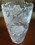 German Hand Cut Glass Lead Crystal Vase Roses West Germany Sawtooth Top Perfect