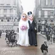 Antique Bisque German Hertwig And Co Bride And Groom 1 1/8 Wedding Cake Topper Doll