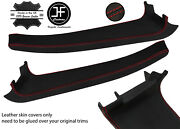 Red Stitch 2x Door Sill Trim Top Grain Leather Cover For Lotus Elise S3 11-20
