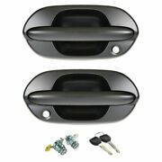 Front Exterior Outside Black Textured Door Handle With Locks Kit Set 4pc