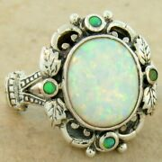 Victorian Antique Style 925 Sterling Silver Lab Opal Ring Size 9      834