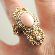 Antique Victorian Cocktail Ring 14k Etruscan Gold Angel Skin Coral Seed Pearls