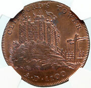 1795 England Yorkshire Cliffordand039s Tower York Conder Half Penny Ngc Coin I84268