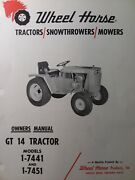 Wheel Horse Gt 14 1-7441 1-7451 Lawn Garden Tractor Owners Manual