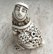Harpy Woman And Bird Harp Flute Ocarina Signed And Stamped Pottery Whistle Music Vtg