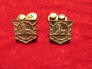 Us Army Military Intelligence Collar Insignia Pin, Clutch Back Matched Pair