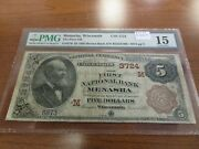 Large Size Wisconsin National Currency 5 Note 1st Nb Menasha Pmg 15