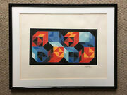 Victor Vasarely Andldquocubes And Cuboidsandrdquo Serigraph Signed Limited Edition 11/100