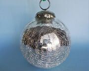 10 Pcs. Large 4 Wide Dia. Crackle Glass Silver Kugel Style Christmas Ornaments
