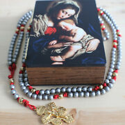 20 Decade Rosary Silver And Gold Steel Beads Red Paracord Cord Rosario Catholic
