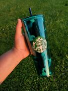 Starbucks Greenteal Turquoise Wave Tortoise Cups 24 Oz Venti Cold