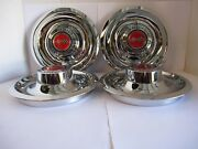 4 Chevy Gm Disk Brakes Rally Wheel Center Hub Caps W/ Red Flags Decal