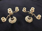 Camusso Sterling Silver Candelabra Pair2 Peruvian 3 Branch Candlestick Holders