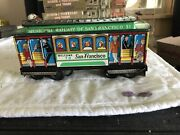 Vintage Tin Friction Toy San Francisco Cable Car -- Lever Action Trolley