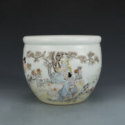 8.7 Marked Republic China Famille Rose Porcelain Painted Poetry Personage Pot